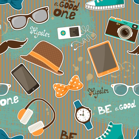 Hipster seamless elements of retro hat and music player camera  illustration Vector