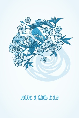 Good day wishing card with cherry sakura flowers and bird decorative symbol isolated illustration Vector