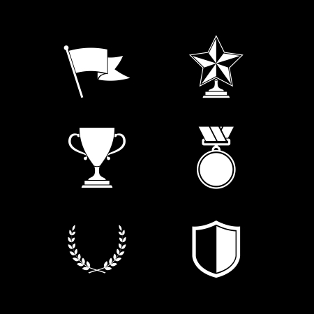 community recognition: Trophy and prize symbols of shield star medal and wreath isolated illustration