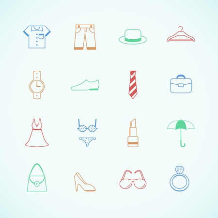 brassiere: Clothes accessories pictograms of cap boots glasses and pants isolated illustration