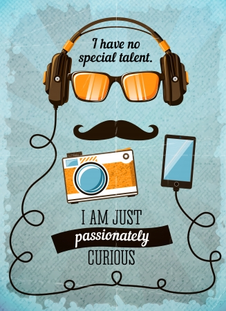 passionately: Hipster poster with vintage accessories and items illustration Illustration