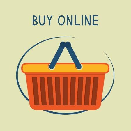 Buy online shopping basket emblem for online internet store illustration Vector