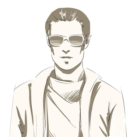 male hair model: Handsome young man portrait wearing sunglasses and slip-over, casual style isolated illustration