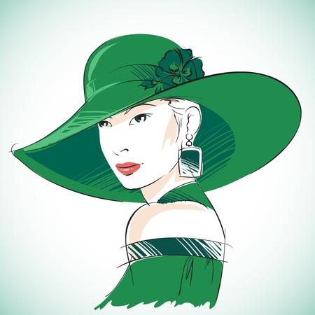 緑の帽子、イヤリングのイラストを着て魅力的な官能的な女性の肖像画