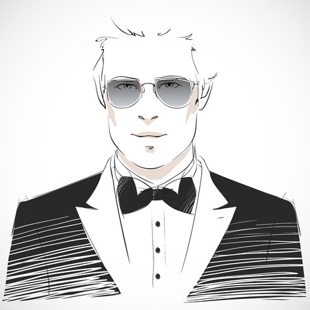 rout: Elegant young businessman portrait wearing black tuxedo suit with bow-tie and glasses isolated vector illustration Illustration