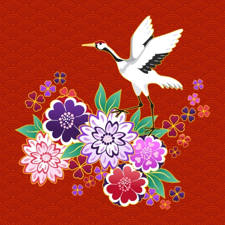 embroidery on fabric: Kimono decorative motif with flowers and crane illustration