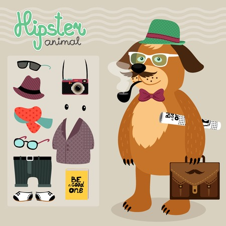 Hipster character elements for nerd puppy dog with customizable face look and clothing illustration Vector