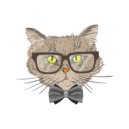 geek: Portrait of a cat with bow tie and glasses hipster with look isolated illustration