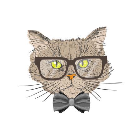 geek: Retrato de un gato con corbata y gafas inconformista con aisladas ver ilustración