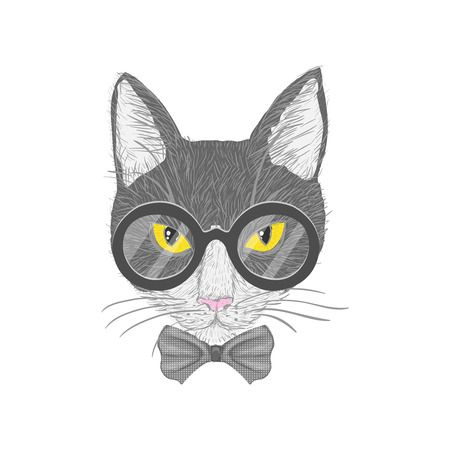 Hipster cat with glasses bow and yellow eyes isolated illustration Illustration