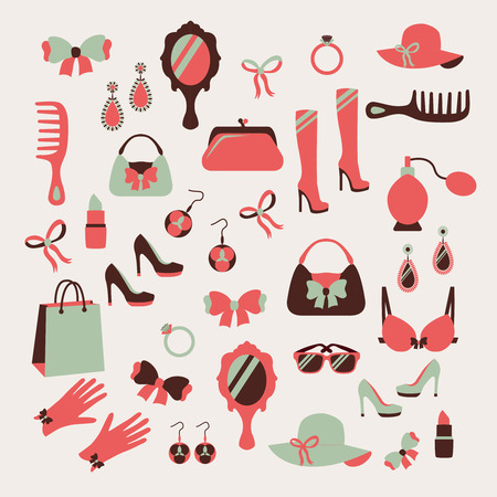 shopping bags: Woman accessories icons set of gloves shoes hats and jewelry illustration