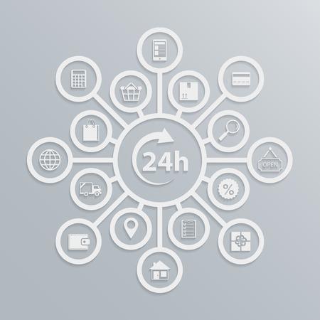 Online store 24 hours customer service diagram, how e-commerce website works illustration Vector