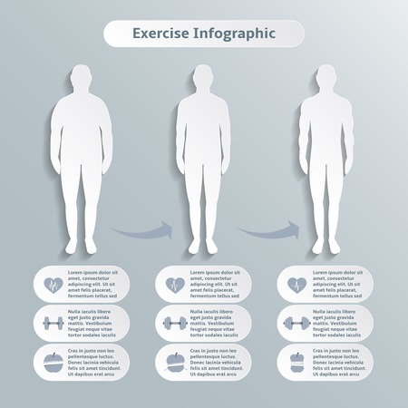 Infographic elements for men fitness and sports of healthcare weight loss power training illustration graphic elements