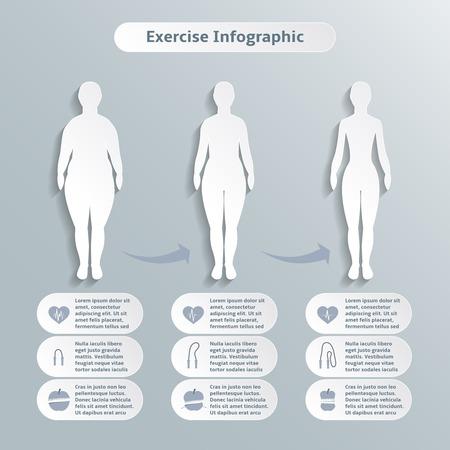 얇은 두께의 체중 감소와 건강 그림의 인포 그래픽 여성 피트 니스에 대 한 요소와 스포츠