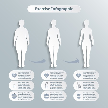 Infographic elements for women fitness and sports of slimness weight loss and healthcare illustration Ilustração