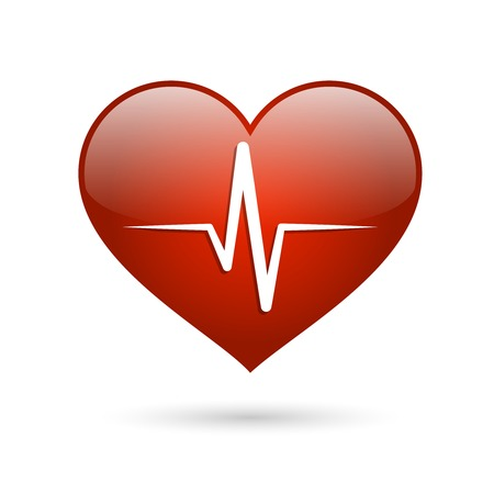 heart medical: Heart beat rate icon, healthcare and medical concept illustration