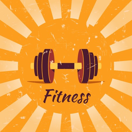 Vintage fitness poster with dumbbells illustration Vector