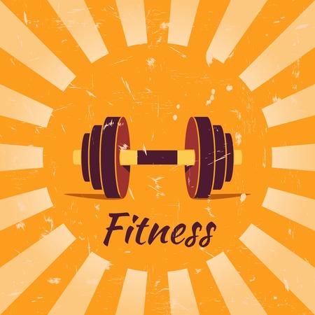 dumbell: Vintage fitness poster with dumbbells illustration