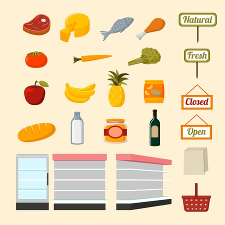 Collection of flat supermarket food items of fresh and natural vegetables fruits meat and dairy products isolated  illustration