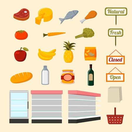 Verzameling van platte supermarkt etenswaren van verse en natuurlijke groenten fruit vlees en zuivelproducten, illustratie