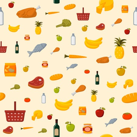 Supermarket food items seamless of fresh and natural vegetables fruits meat and dairy products isolated illustration Vector