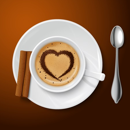 cream filled: Top view on realistic white cup filled with coffee and cream decorated by a cinnamon pattern in the form of heart illustration