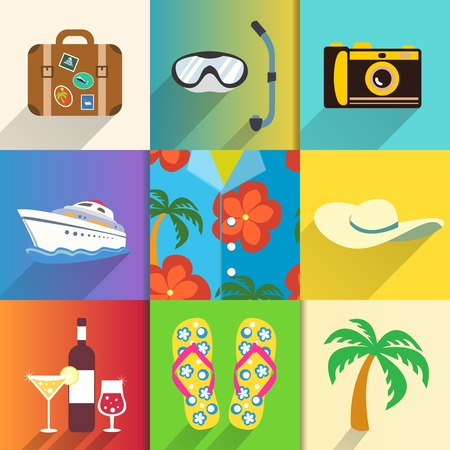 Aloha shirt. Travel and vacation icons set with sun hat camera and beach shoes vector illustration Vector