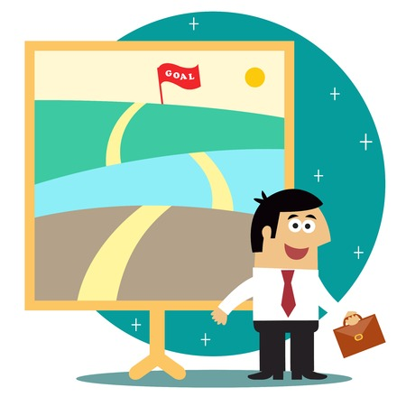 achieve goal: Business life. Metaphor of long journey to achieve goal with personnel staff vector illustration Illustration