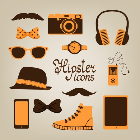 Hipster items collection of glasses bow mustache shoes and hat vector illustration Vector