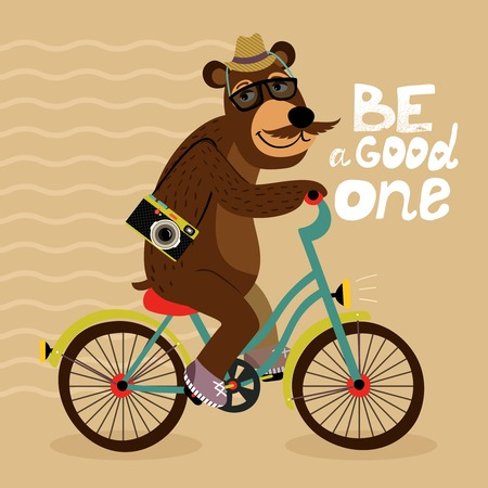 cartoon hat: Hipster poster with geek bear riding bicycle vector illustration Illustration