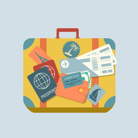travel card: Travel suitcase with stickers passport and plane tickets isolated vector illustration