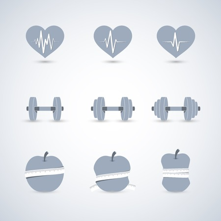 Fitness exercises progress icons set of heart rate strength and slimness isolated vector illustration Vector
