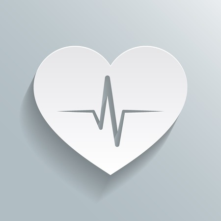 Heart beat rate icon, fitness and exercises concept vector illustration Çizim