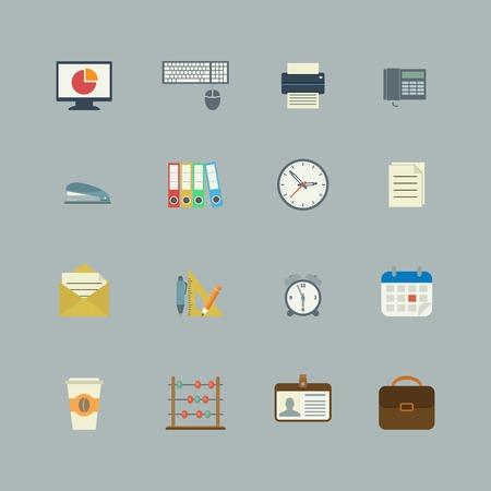 grapadora: Colección de negocios de la oficina de escritorio planos suministra iconos de color, ilustración vectorial