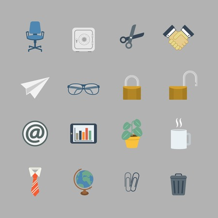 Business collection of flat stationery office supplies color icons isolated vector illustration Vector