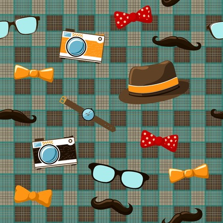 Hipster items of vintage mustache hat bow and glasses on seamless tablecloth vector illustration Vector