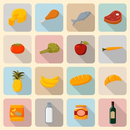 Supermarket foods icons set of fresh and natural vegetables fruits meat and fish isolated vector illustration Vector