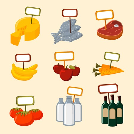 Supermarket foods items of meat fish fruits vegetables and drinks with blank signs isolated vector illustration Vector