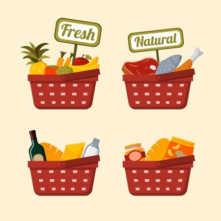 canasta de frutas: Cesta establece con supermercado fresco y carne de pollo verduras naturales de frutas y pescado, ilustraci�n vectorial