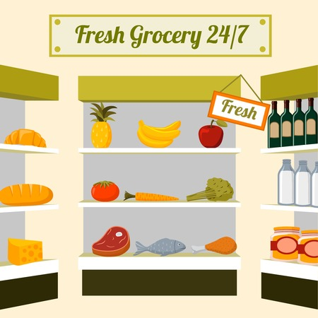 grocery shelves: Fresh grocery foods of fruits vegetables meat chicken fish and drinks on store shelves vector illustration