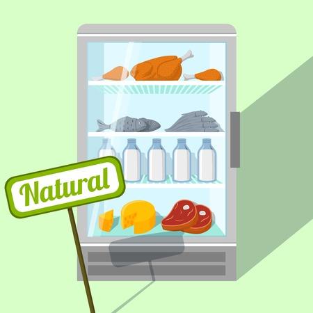 냉장고 벡터 일러스트 레이 션에 닭 생선 고기와 낙농 제품의 자연 식품
