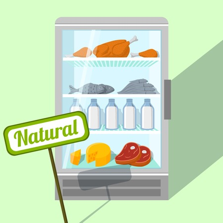 Natural foods of chicken fish meat and dairy products in refrigerator vector illustration