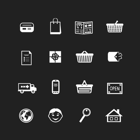 Collection of e-commerce interface pictograms for website vector illustration Vector