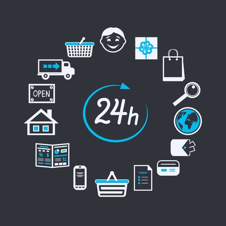 Internet website store open 24 hours for online shopping and customer service concept isolated vector illustration Vector