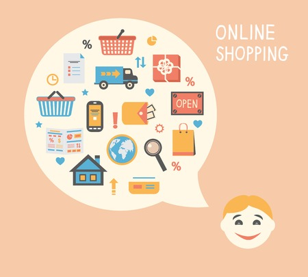 Online shopping innovation idea with happy satisfied customer vector illustration Vector