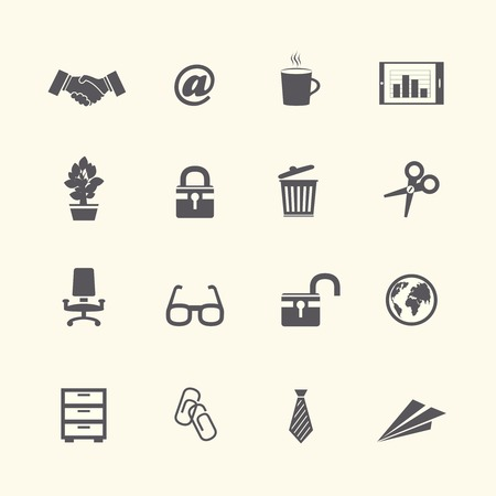Business stationery supplies internet collection of handshake glasses and tie isolated vector illustration Illustration