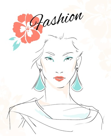 Fashion portrait of sensual woman with makeup and eardrops isolated vector illustration
