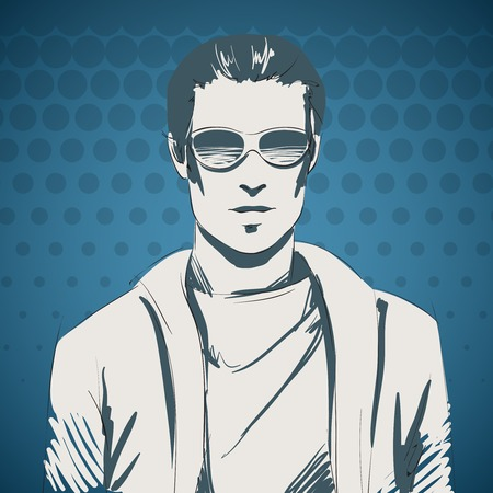 Stylish young guy portrait wearing glasses and pullover, sport style vector illustration