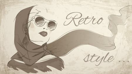 Beautiful retro woman portrait wearing kerchief and sunglasses vector illustration Vector