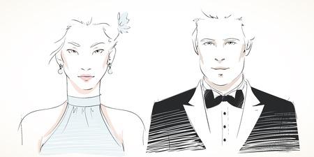 robes de soir�e: Jeune couple portraits � la mode de l'homme et de la femme en robe de soir�e isol� illustration vectorielle Illustration